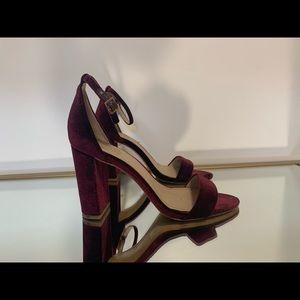 Vince Camuto burgundy velour block heels